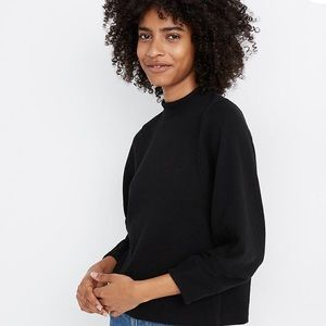 Madewell texture & thread button back mock neck t